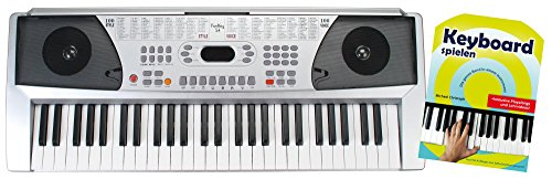 Funkey 54 Keyboard - 54 Tasten ideal für Einsteiger und Kinder - 100 Sounds/Klänge und Begleitautomatik mit 100 Rhythmen - Inklusive Keyboard Schule und Notenhalter - Silber