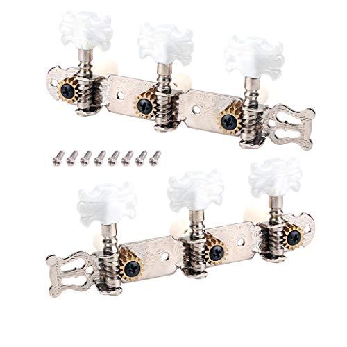 Sharplace 2 Set Mechaniken Knöpfe 1R1L Saiten Stimmwirbel Stimmgerät für Akustische Gitarre E-Gitarre (Akustische Gitarre Größentabelle)