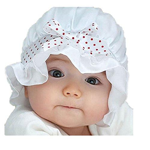 Malloom® nouveau-né fille points goy soleil d'été de polka beanie chapeau de chapeau 2-12 mois (Blanc)