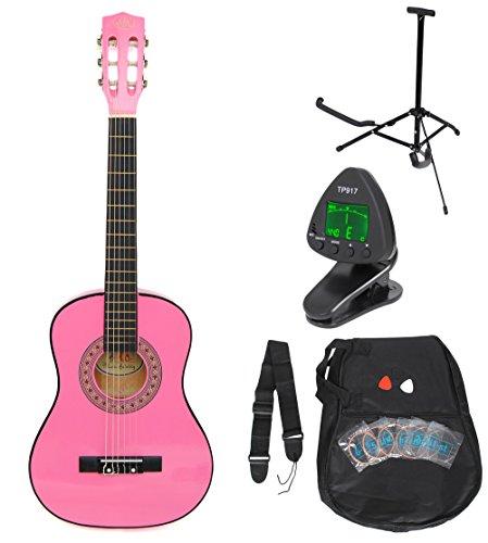 1/4 Kinder Akustik Klassik Gitarre Rosa Konzertgitarre ca. 4-7 Jahre als Set mit Stimmgerät, Gitarrenständer, Ersatzsaiten und drei Plektren