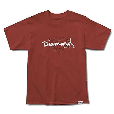Diamond Supply Co. Men's Brilliant Script SS T Shirt Burnt