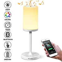 Marrado Table Lamp, Touch Sensor Bedside Lamp + Bluetooth Speaker for Bedroom Living Room Garden Reading, Portable Rechargeable Night Light, Dimmable Warm White & Color Changing by Marrado
