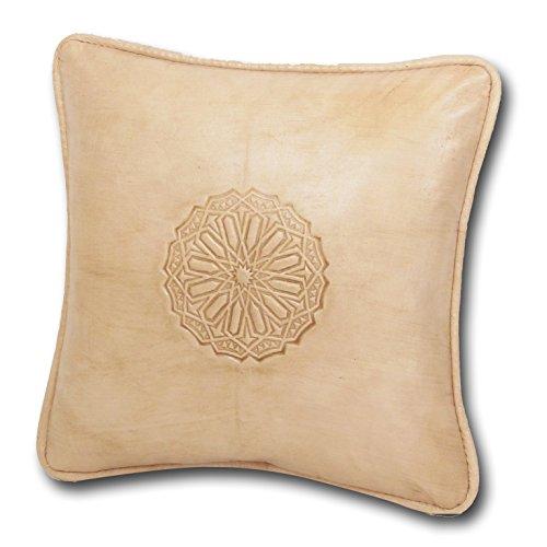ALMADIH Lederkissen L 35x35cm weiß creme naturfarben - 100% traditionelle Handarbeit aus Lammleder - echt Leder Kissen Sofakissen Dekokissen Zierkissen orientalische Kissen mit Füllung (Kissen 35x35 weiß)