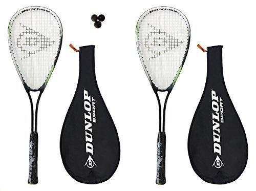 2x Dunlop Biotec Squashschläger , 3x Squashbälle und Tasche
