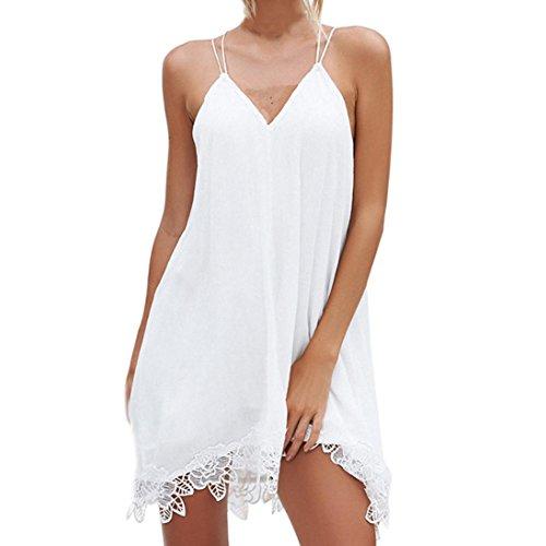 Kleid damen Kolylong® Frauen Elegant V-Ausschnitt Ärmelloses Spitze Kleid Festlich Chiffon Rückenfreies Kleid Shirt Kleider Kurz Minikleid Strandkleid Cocktail Partykleid Bluse Tops (Weiß, L)