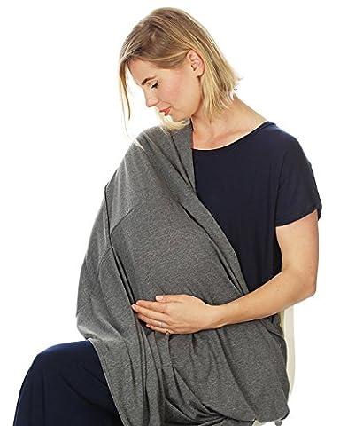 NaiFei Deal-Premium Qualität Nursing Schal / Nursing Cover infinity Stillschal auf Stillen. Einfach tragen, ultra weich, vielseitig, stilvolle Abnutzung. (Dunkelgrau)