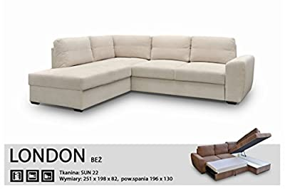 Corner Sofa Bed-london Beige - Fabric-extra Soft- Elastic-quality Silicone Foam from Megan Furniture