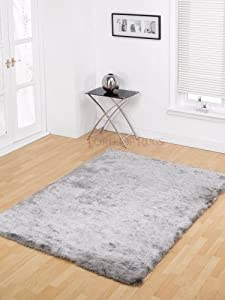 XLarge Soft Silky Luxuries Shaggy Rug in Silver 160 x 220 cm (5'3 x 7'3) Carpet by Lord of Rugs from Lord of Rugs