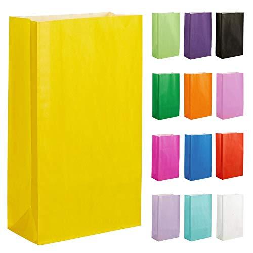 Thepaperbagstore 20 Papiertüten für Partys und Geschenke - Gelb - 140x245x70mm
