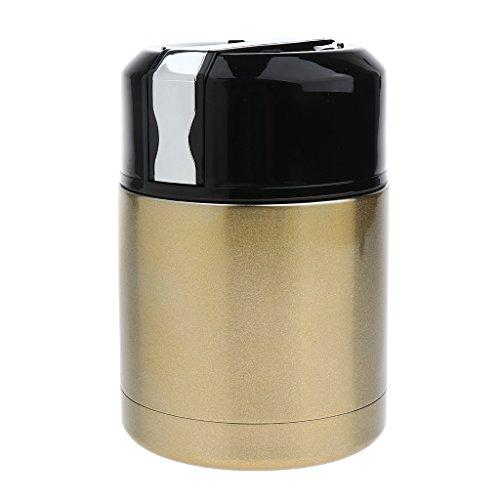 MagiDeal Edelstahl Isolierte Thermoskanne Lunchbox Lebensmittel Container Tragbar Lebensmittelbehälter 800ml - Gold (Vakuumdichtungs-deckel)
