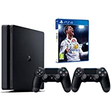 PS4 Slim 500Gb Negra Playstation 4 Consola - FIFA 18 + 2 Mandos Dualshock 4