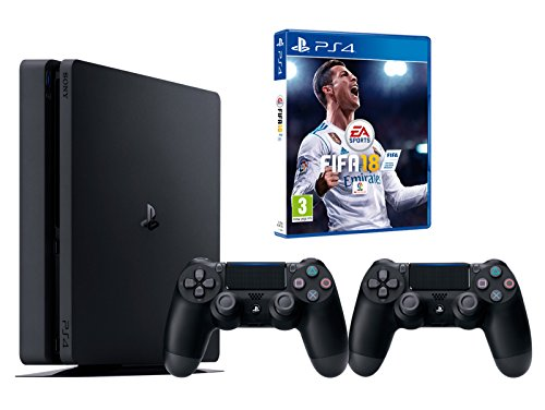 PS4 Slim 500Go Noir Playstation 4 – FIFA 18 + 2 Manettes Dualshock 4