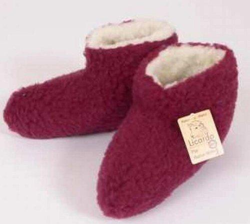 Lit Chaussures coton, 100% laine vierge I.F., Couleur Bordeaux bordeaux