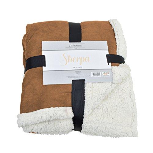 Vendôme Sherpa, manta de alta calidad XXL de felpa súper blanda, 200 x 150cm,Color Marrón/Beige