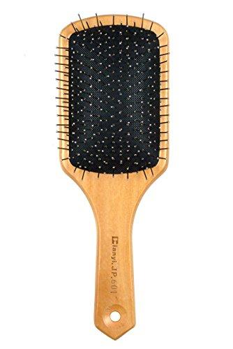 Dianyi Brosse Plate à Cheveux Bambou en Bois Antistatique Démêlante à Coussin Paddle Pneumatique Naturelle Acier Point
