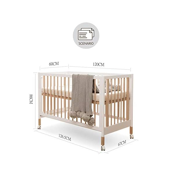 XUNMAIFLB Removable Solid Baby Cot Bed Wooden Toddler Bed, Swing Bed, Baby Beech Bed, Adjustable Comfort Bed 120 * 60cm (game Bed + Splicing Bed) Safety XUNMAIFLB Sofa bed: The side rail slides down to the bottom and becomes a sofa bed, suitable for toddlers or babies over 3 years old. Five variations: Cribs that can accompany your baby, 0-6months crib mode (1-2 files); 6-12months crib mode (3-4 files); 1-3years of age game bed mode (5 -6 files); 3years of age+ sofa bed mode. Silent casters: One button unlocks the mute, smooth, does not hurt the floor, and is light and effortless. 6