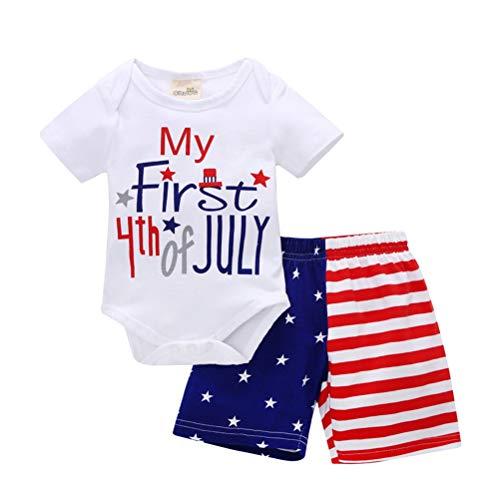 Amosfun Babyspielanzug My First 4th of July Bedrucktes Baby-Kurzarmhemd Shorts Independence Day für Kleinkinder