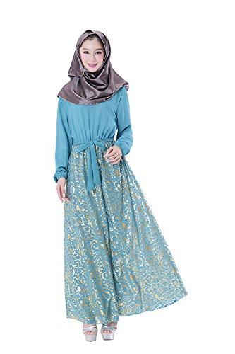 GladThink Frauen Muslim islamischen langen Ärmeln Abaya Maxikleider Party-Wear Blau