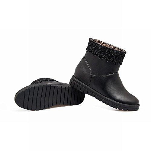 Misssasa Chaussures Femme Bottes Basses À Talons Bas Hiver Noir