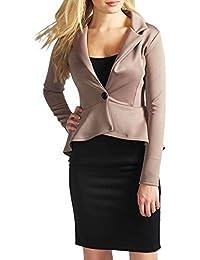 9535d86327c77 OWASI ® Peplum-Frill Long Sleeves one Button Blazer Casual Jacket Coats  Womens Ladies Top