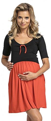Happy Mama.Damen Umstands Stillkleid Mini Schaukel Kleid Kurzarm.677p. (Black & Red)