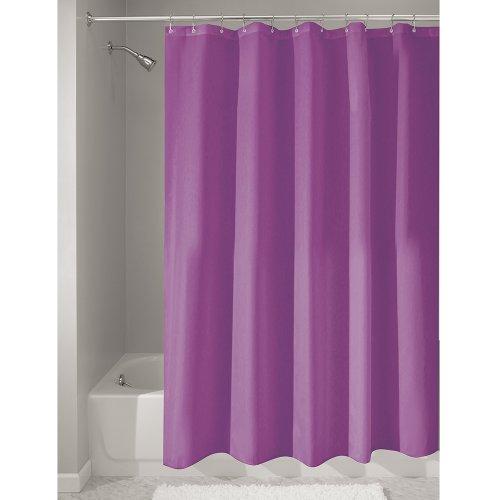 InterDesign Duschvorhang aus Stoff | wasserdichter Duschvorhang mit verstärktem Saum | waschbarer Textil Duschvorhang in der Größe 183,0 cm x 183,0 cm | Polyester - Duschvorhang Lila