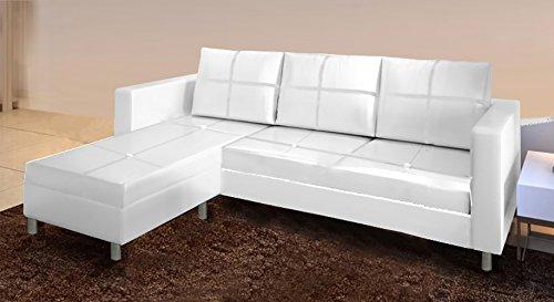 Frizzo divano ecopelle bianco moderno con chaise longue e cuscini spessorati | stella