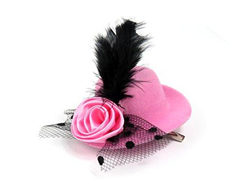 Lovely Lauri Mini Hut mit Polka Dots- Blume und Federn pink