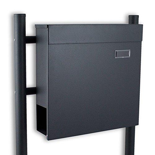 BITUXX® Standbriefkasten Briefkasten Postkasten Mailbox Letterbox Briefkastenanlage mit integrierten Zeitungsfach Dunkelgrau Anthrazit