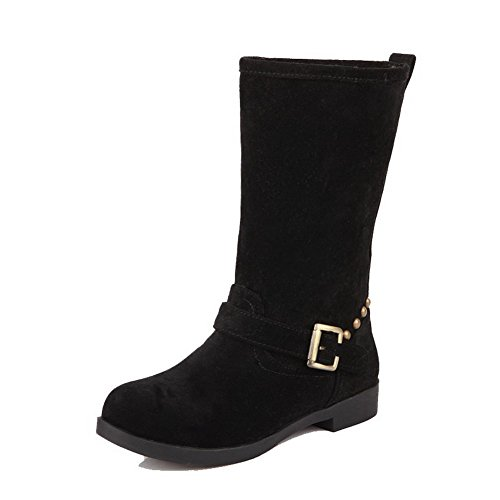 voguezone009-womens-frosted-round-closed-toe-solid-mid-top-low-heels-boots-black-37