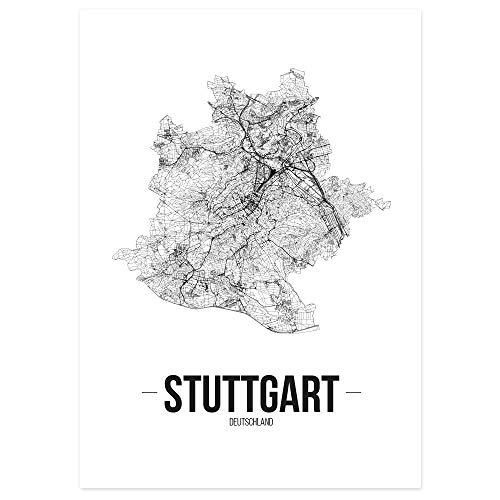 JUNIWORDS Stadtposter - Wähle Deine Stadt - Stuttgart - 40 x 60 cm - Schrift B - Weiß