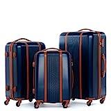 FERGÉ® Kofferset Hartschale 3-teilig Milano Reise-Koffer Set Retro Leder-Streifen 3er Hartschalenkoffer Trolley Set (M L XL) 4 Rollen (360°) Hartschale blau
