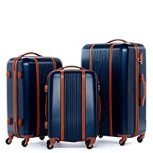 FERGÉ Kofferset Hartschale 3-teilig Milano Trolley-Set - Handgepäck 55 cm, L und XL 3er Set Hartschalenkoffer Roll-Koffer 4 Rollen blau