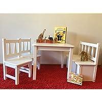 Kindersitzgruppe Holz 1x Kindertisch 2X Kinderstuhl 1x Kindersitzbank Weiß Massivholz