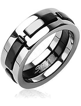 Paula & Fritz® Ring Titan silber schwarz 6 oder 8mm breit Multi Color Dexter verfügbare Ringgrößen 47 (15) 72...