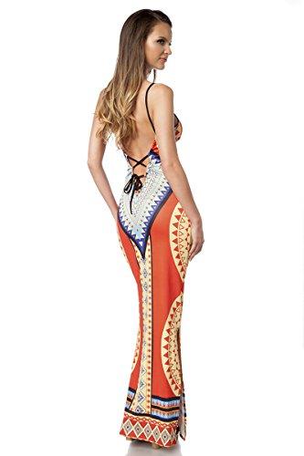 Angies Glamour Fashion - Robe - Femme Small orange/gelb/blau