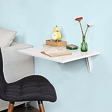 SoBuy®FWT21-W,ES Mesa de cocina, mesa plegable de pared, mesa de comedor, mesa de pared, 60x40cm (sillas no incluidas)
