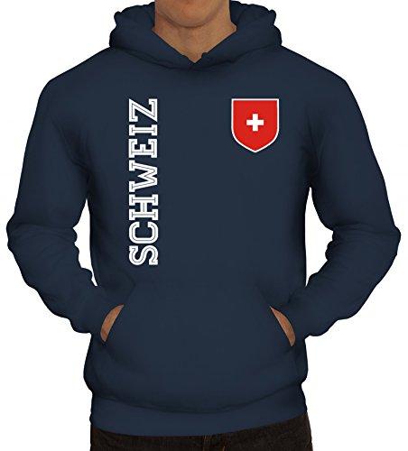 Swiss Fußball WM Fanshirt Gruppen Herren Hoodie Männer Kapuzenpullover Fan Trikot Schweiz, Größe: L,Navy