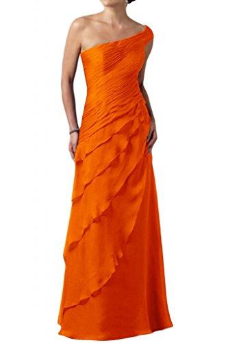 Toscane mariée une épaule multicouche longue de soirée en chiffon abendkleider ballkleider abendmode fixes Orange - Orange