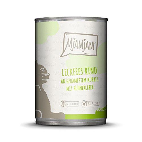 MjAMjAM - Premium Nassfutter für Katzen - leckeres Rind an gedämpftem Kürbis, 6er Pack (6 x 400 g), getreidefrei mit extra viel Fleisch -