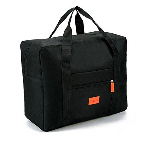 Folding travel bag,MMHDZ reise faltbare tasche damen und männer, wasserdicht licht reisegepäck tasche sport, gym, urlaub große kapazität (schwarz) (Rv-tasche Faltbare)