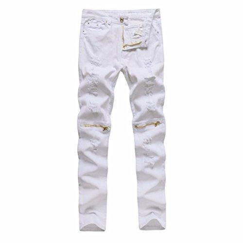 1fb311e7851c Fat.chot Herren Hose Militär Destroyed Jeans Knie Reißverschluss Stretch  Jeanshose Freizeithose Denim Slim Fit Motorrad Gerissene Skinny Streetwear  (32, ...