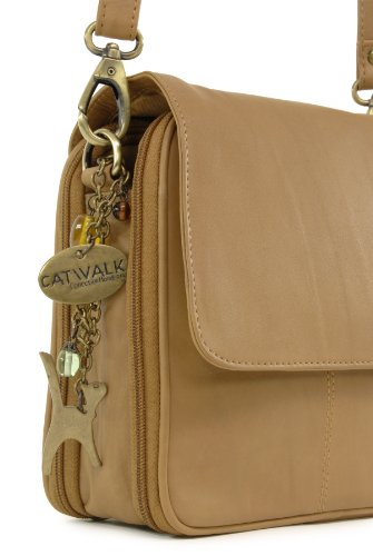 Catwalk Collection Handbags, Borse tascapane, Donna Marrone chiaro