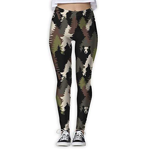 Nicegift Bears Camouflage Womens Yoga Capris Power Flex Running Pants Workout Leggings X-Large