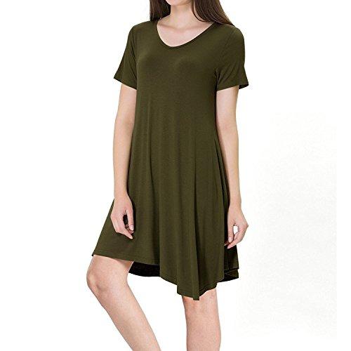 SUNNOW Femme Robe Tunique Manches Courtes Casual En Vrac Ourlet Irrégulier Mode Robe T-shirt Top Robe de Plage été Casual Femme Vert Armé