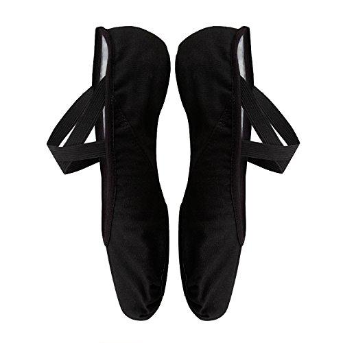 Zapato de Ballet para Niña y Mujer,Zapatillas Media Punta de Ballet Transpirable,Suaves Lona Gimnasia Zapatillas Baile Clásico, Suela Partida Cuero,Negro,35(215 mm)