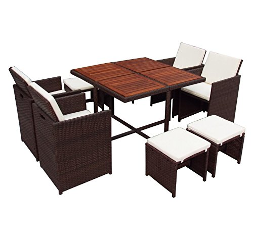 9 Pc Rattan Cube Set Wood Top Garden Home Furniture Dining Table Chairs 8 Seater Uk Garden