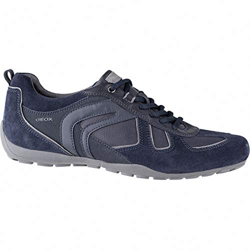 Geox u843fa 022me ravex - scarpe sportive con lacci, da uomo, in pelle scamosciata, marrone (blu), 43 eu