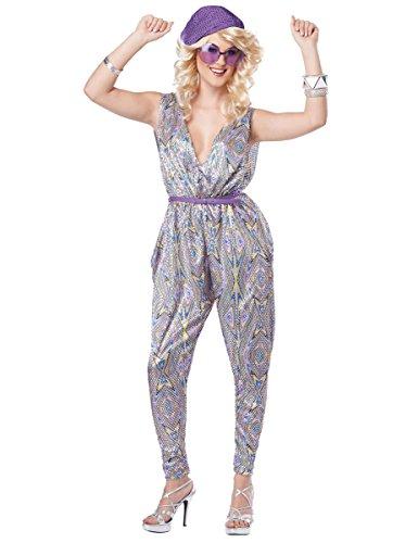 psuit Damenkostüm silber-bunt L (Disco Jumpsuit)