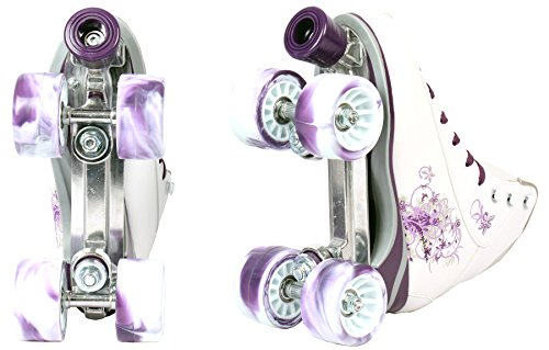 Rollschuhe im modernem Discoroller Design weiß lila grau Roller Inliner (Weiß / Lila, 39) -